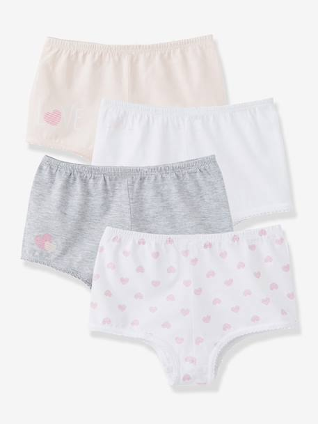 Girls' Pack of 4 Shorties White + pink + light grey