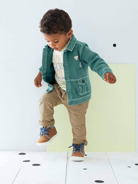 Baby Boys Fleece Trousers Ecru striped+Printed light taupe