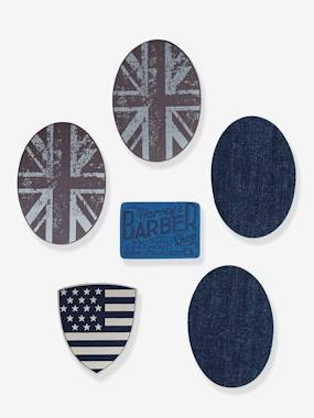 Pack of 6 Boys' Iron-on Patches blue dark all over printed
