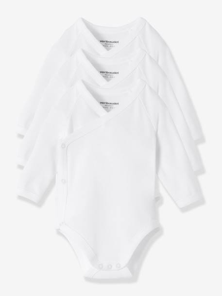 Pack of 3 Organic Collection Newborn Baby Long-Sleeved Bodys White pack