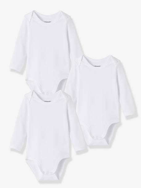 Baby Pack of 3 Long-Sleeved White  Bodysuits in Pure Cotton White pack