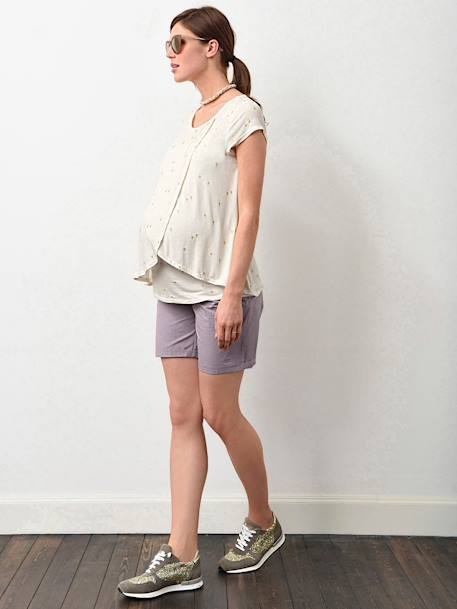 Adaptable Maternity & Nursing T-Shirt Black+Grey marl+Printed ecru