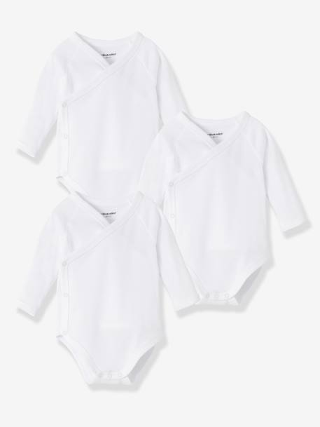 Pack of 3 Long-Sleeved Bodysuits for Newborns White pack