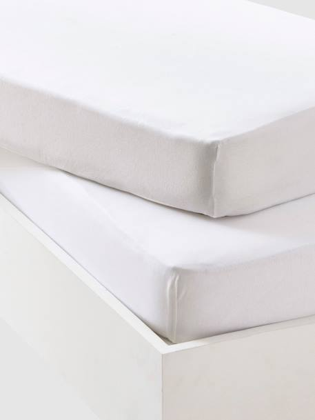 Pack of 2 Plain White Fitted Jersey Sheets 2 white
