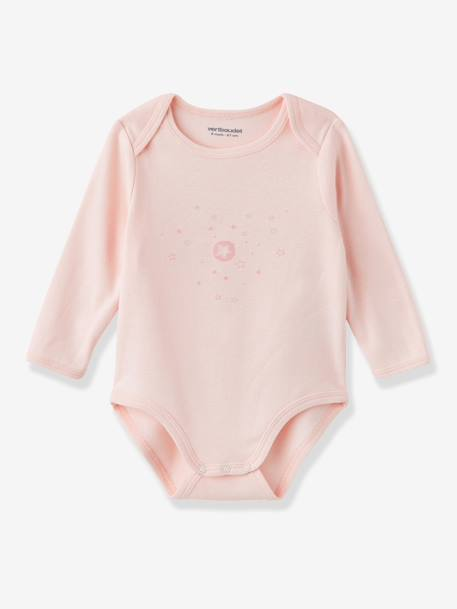 Pack of 3 Coloured Pure Cotton Baby Bodysuits with Long Sleeves Pale grey+Pale pink