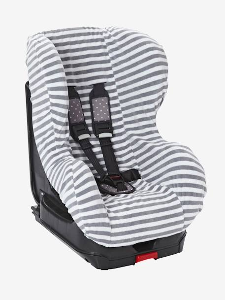 Elasticated Cover for Group 0+/1 Car Seat Grey/white striped+MEDIUM BLUE MARL