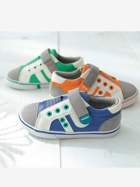 Boys Low Top Trainers Green+Grey / blue+Orange