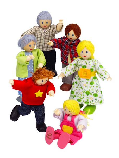 Hape 6-piece Wooden Doll Set Muticolour