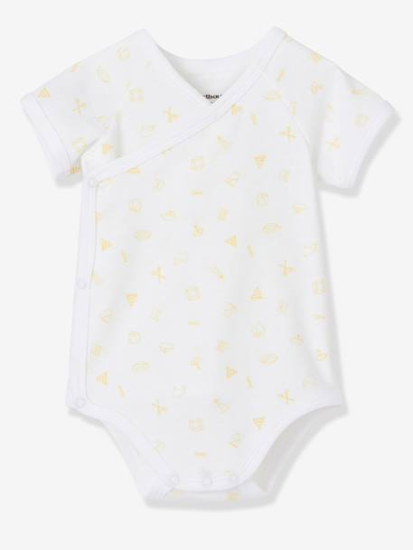 Pack of 3 Newborn Short-Sleeved Bodysuits,Yacht Motif, Organic Collection Pale pink+Pale yellow+Pearl