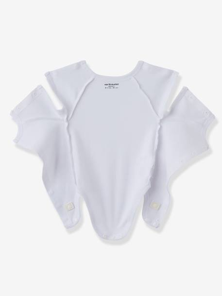 Baby Short-Sleeved Organic Cotton Bodysuit, Especially for Premature Babies Pale grey striped+Pale pink striped+White