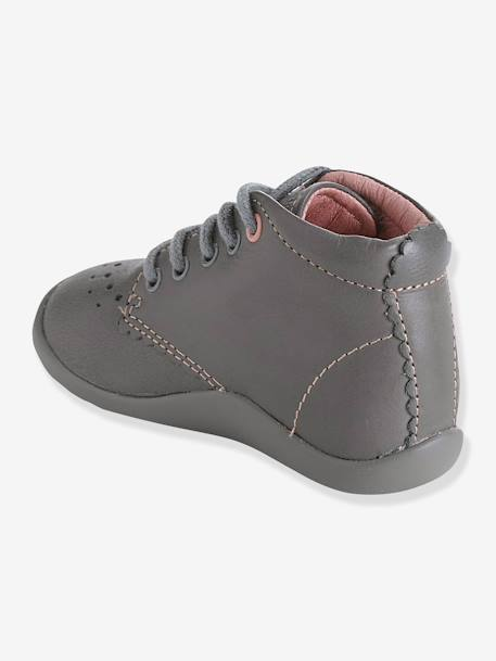 Baby Girls First Steps Ankle Boots Grey / pink