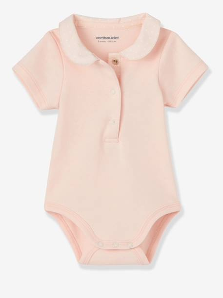 Pack of 2 Baby Bodysuits with Peter Pan Collar Pale pink