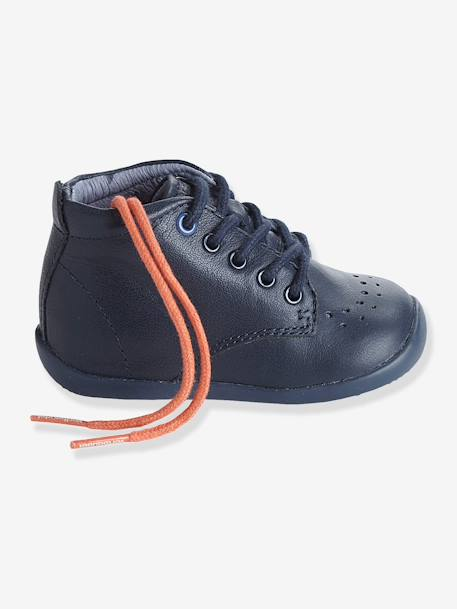 Boys' Leather Ankle Boots, Designed for First Steps GREY MEDIUM  ALL OVER PRINTED+Navy