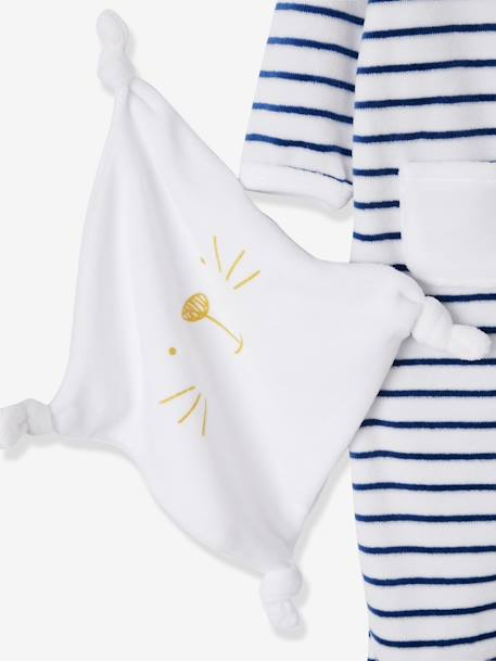 5-Piece Set for Newborns, Striped, with Cat and Bag ORANGE BRIGHT STRIPED+WHITE LIGHT STRIPED