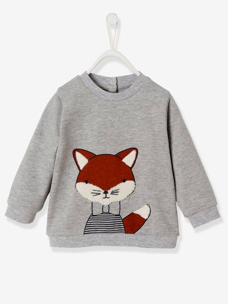 Stylish Sweatshirt for Baby Boys GREY LIGHT MIXED COLOR+ORANGE DARK SOLID WITH DESIGN