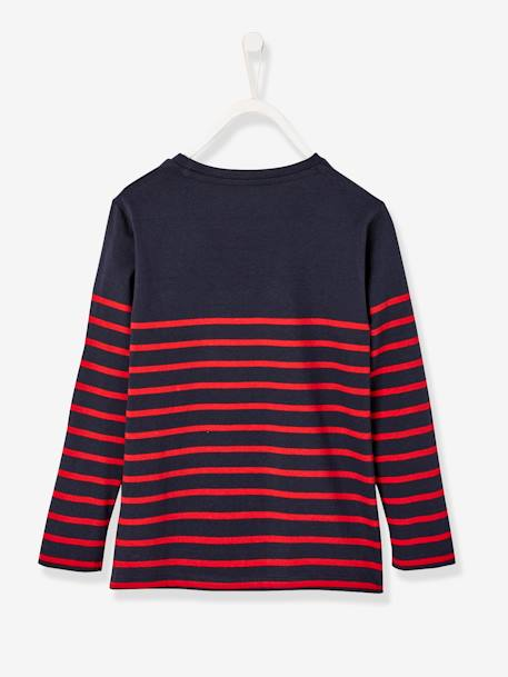 Striped Top with Graphic Motif, for Boys BLUE DARK STRIPED+GREY DARK MIXED COLOR+WHITE LIGHT STRIPED