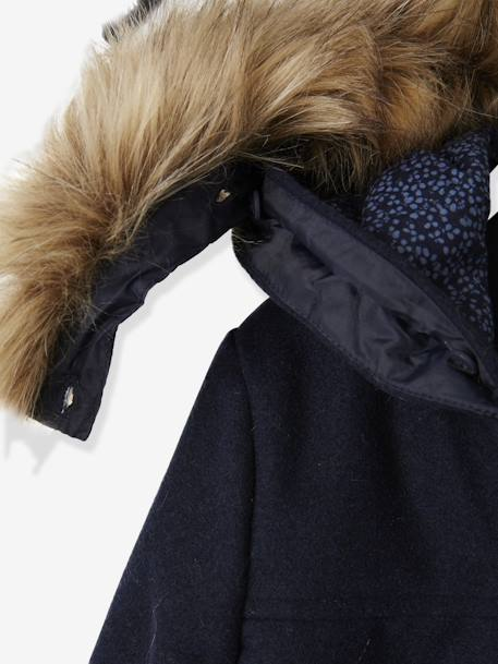 Duffle-Type Coat with Hood, for Girls BLUE DARK SOLID+BROWN LIGHT MIXED COLOR+GREY LIGHT MIXED COLOR+RED BRIGHT SOLID