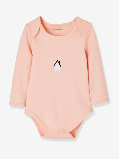 Pack of 5 Long-Sleeved Bodysuits for Babies, in Pure Cotton BLUE DARK TWO COLOR/MULTICOL+PINK LIGHT 2 COLOR/MULTICOL R