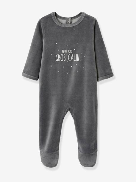Pack of 3 Velour Sleepsuits for Babies, with Press-Studs on the Back BLUE LIGHT TWO COLOR/MULTICOL+GREY DARK TWO COLOR/MULTICOL+PINK LIGHT 2 COLOR/MULTICOL R