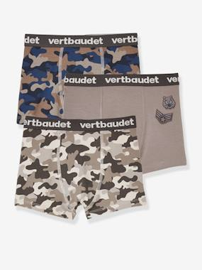 Pack Of 3 Stretch Boxers For Boys Army Grey Dark Two Color Multicol