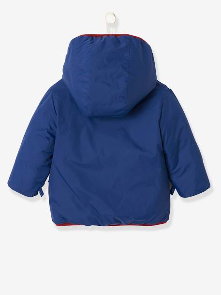 Reversible Jacket with Hood for Baby Boys BLUE DARK SOLID+BROWN MEDIUM SOLID