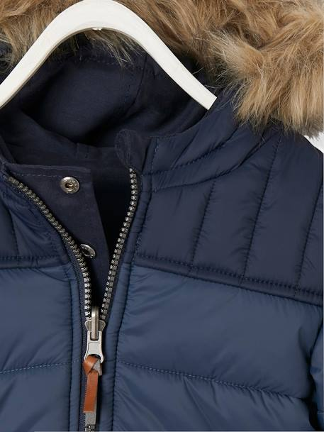 Reversible Parka/Jacket, for Boys BLACK DARK SOLID WITH DESIGN+BLUE DARK SOLID WITH DESIGN