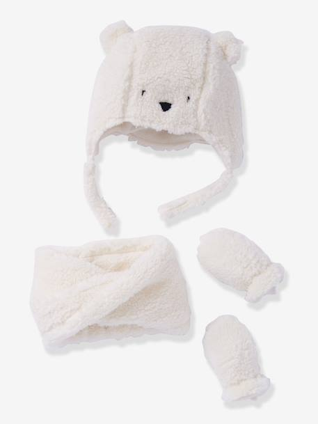 Baby Chapka, Snood & Mittens Set WHITE LIGHT SOLID 2