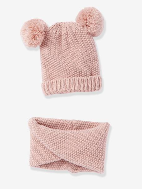 Beanie with Pompons + Crossover Snood Set, for Girls PINK DARK SOLID+WHITE LIGHT SOLID 2