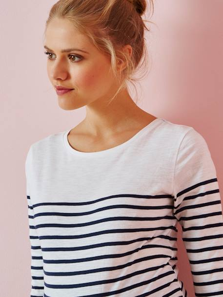 Three-Tone Navy-Style Top for Maternity BLACK DARK STRIPED+WHITE MEDIUM STRIPED