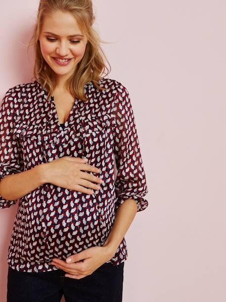 Maternity Printed Blouse RED MEDIUM ALL OVER PRINTED
