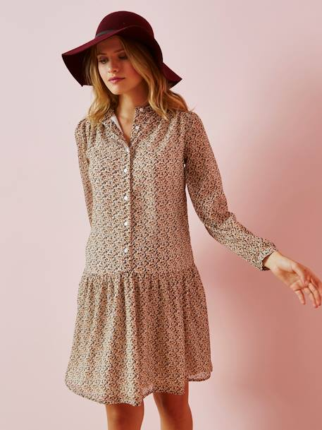 DRESS BEIGE LIGHT ALL OVER PRINTED