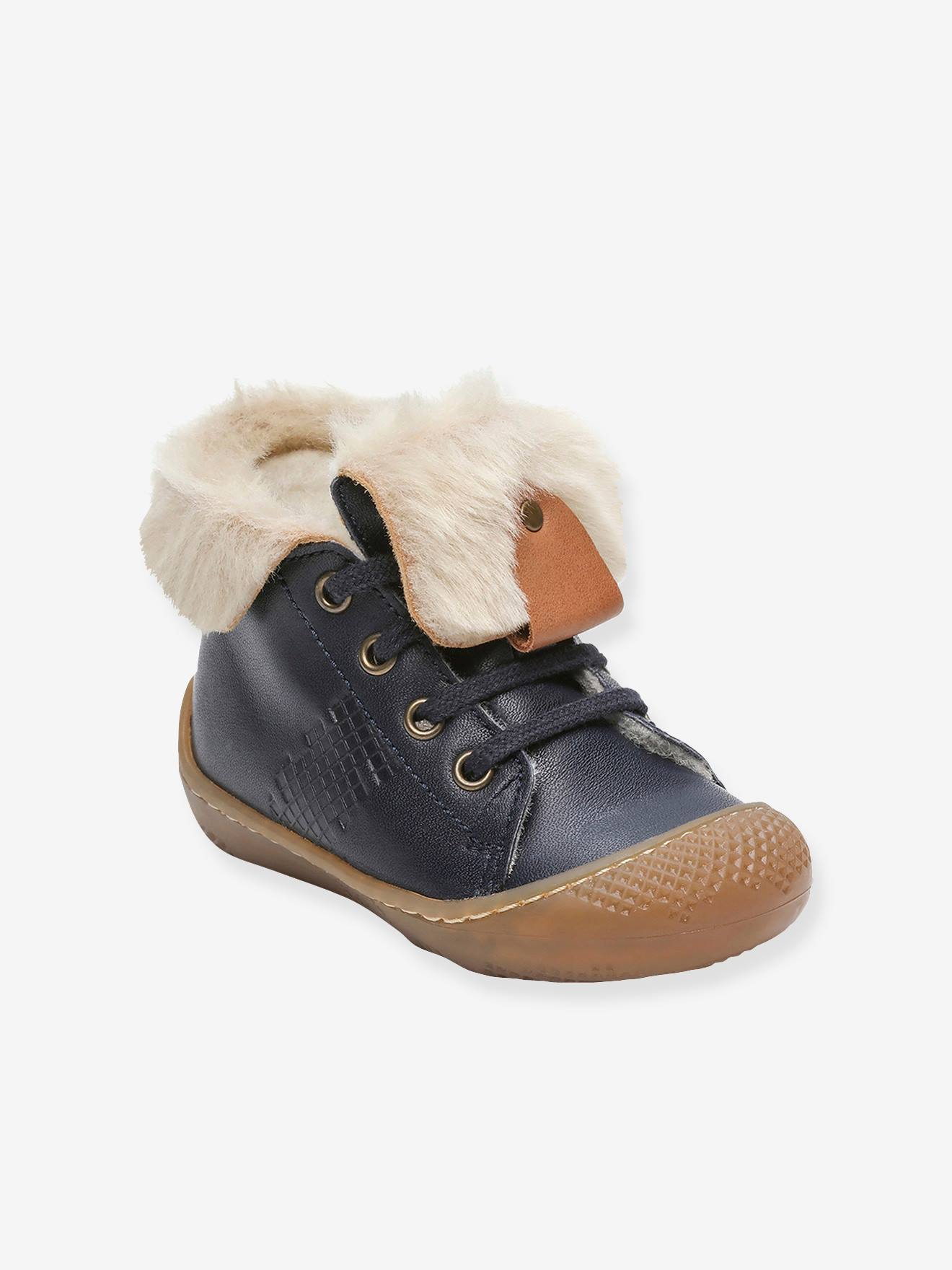 Leather Ankle Boots, Fur Lined, for