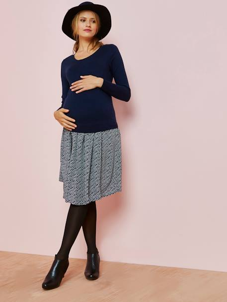Maternity Dual Fabric Dress BLUE DARK ALL OVER PRINTED