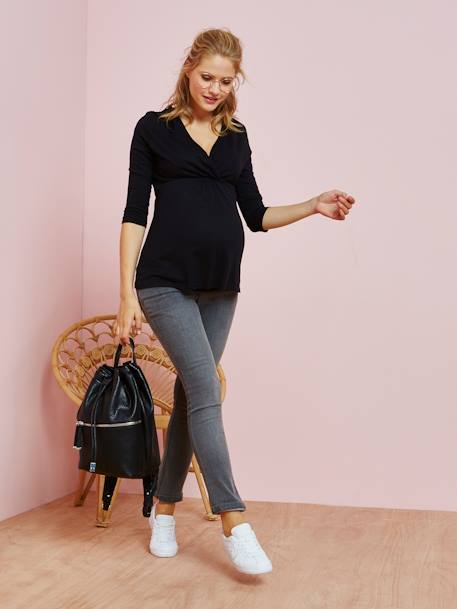 Maternity Wrap-Over T-Shirt BLACK DARK SOLID+BLUE DARK SOLID+Ecru