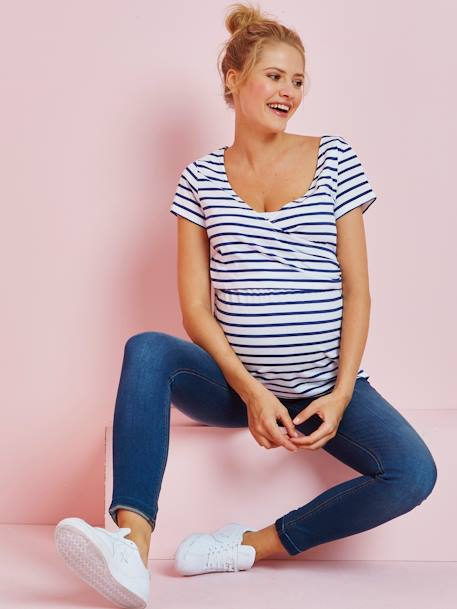 Nursing Crossover T-Shirt BLUE LIGHT STRIPED+RED LIGHT STRIPED+WHITE LIGHT ALL OVER PRINTED
