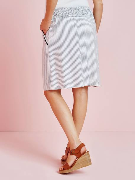 Striped Maternity Skirt in Viscose & Linen WHITE LIGHT STRIPED