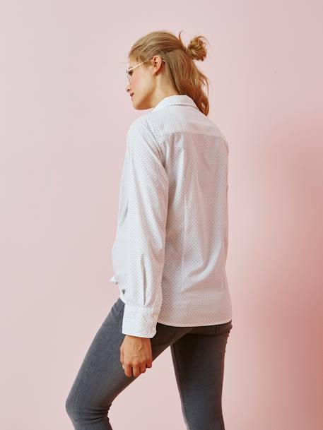 Maternity Dotted Shirt in Poplin WHITE LIGHT ALL OVER PRINTED