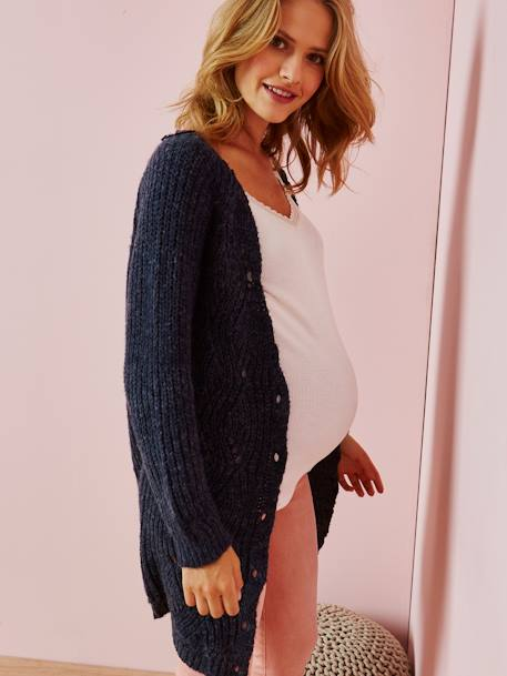 Long Cardigan for Maternity BLUE DARK SOLID
