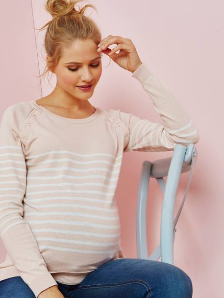 Striped Jumper, for Nursing BLUE DARK STRIPED+PINK MEDIUM STRIPED