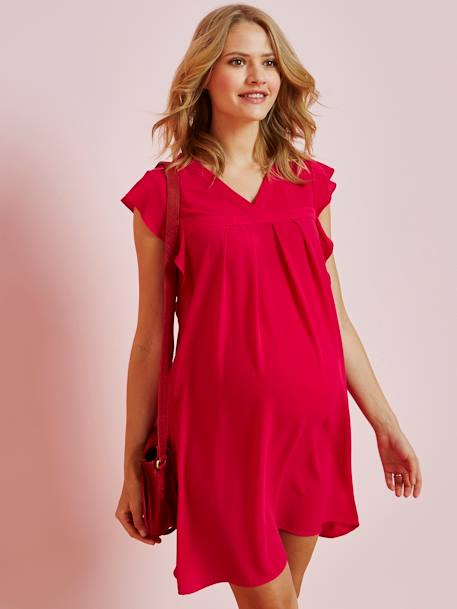 Special Occasion Dress with Ruffle on the Sleeves, Maternity Special PINK MEDIUM SOLID