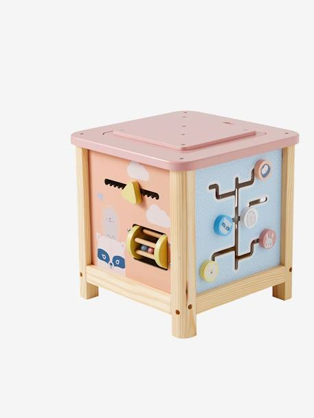 Big Wooden Activity Cube PINK MEDIUM SOLID WITH DESIG+WHITE LIGHT TWO COLOR/MULTICOL