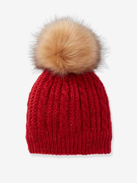Beanie in Fine Cable Knit, with Pompom RED DARK SOLID