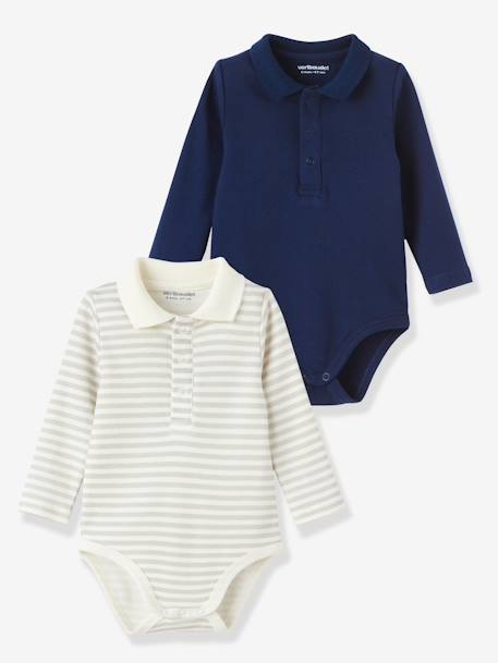 Pack of 2 Long-Sleeved Baby Bodysuits Ash + stripe+Blue stripe + marine
