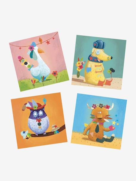 Create with Stickers, Animals, by DJECO BLUE MEDIUM SOLID WITH DESIGN