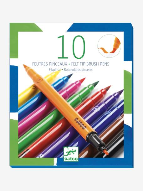 10 Classic Felt-Tip Brushes, by DJECO BLUE MEDIUM SOLID