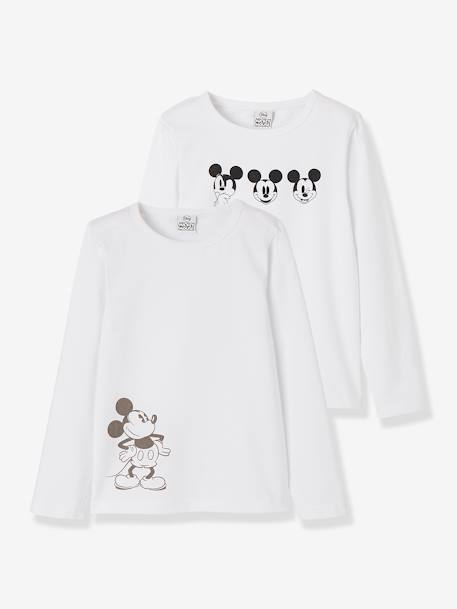 Pack of 2 Long-Sleeved Mickey® Tops, for Boys WHITE LIGHT SOLID WITH DESIGN