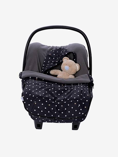 Printed Puffer-Style Footmuff for Car Seats Black / stars