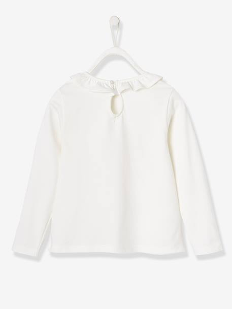 Top with Frill on the Neckline and Bird with Sequins, for Girls WHITE LIGHT SOLID WITH DESIGN
