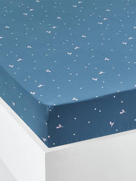 Fitted Sheet for Children, Botanique BLUE MEDIUM ALL OVER PRINTED