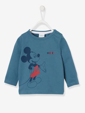 Long Sleeved Mickey® Top For Boys By Disney Blue Dark Solid With Design